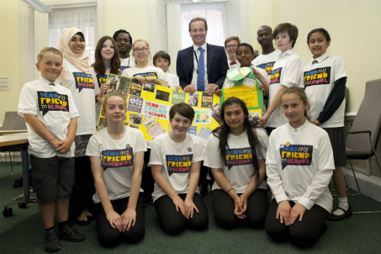 Young campaigners with Nick Hurd